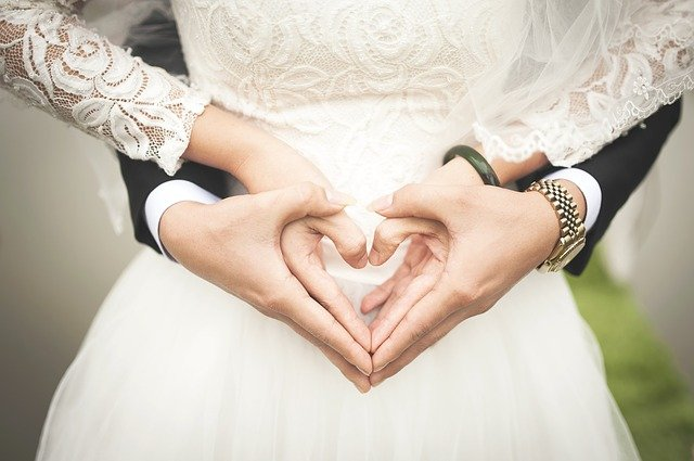 the strength of their love book quiz- bride and groom holding hands